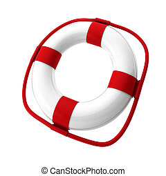 3d render of white lifebuoy on white