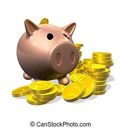 3d render piggy bank and coins illustration - 3d rendered...