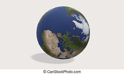 3d render Planet Earth globe on white background
