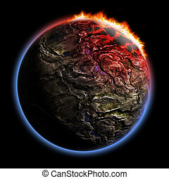 3D render planet with fire corona effect - 3D render of...