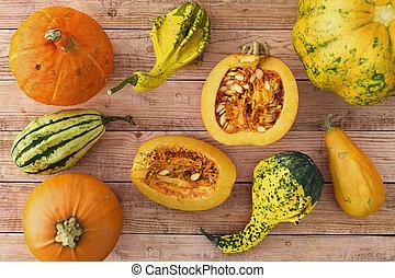 3d render - pumpkins on a wooden table