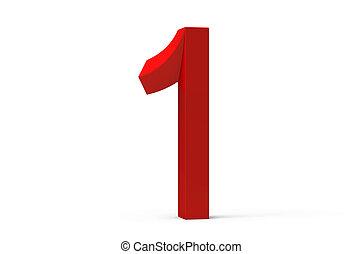 3D render red beveled number 1
