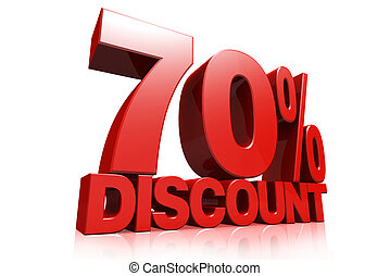3D render red text 70 percent discount on white background...