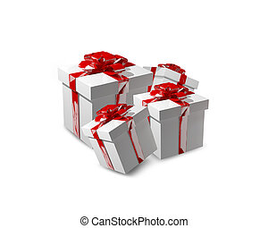 3d render red white gifts
