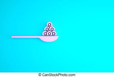 3d, render, rosa, caviale, minimalismo, illustrazione, cucchiaio, icona, blu, isolato, concept., fondo.