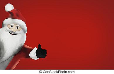 3D Render Santa Claus happy thumb up