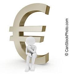 euro symbol and person