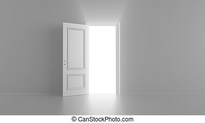 3d render shine of an open door in a bright room
