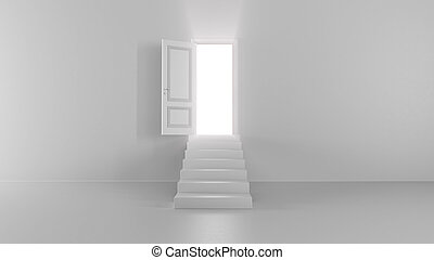 3d render shine of an open door with steps in a bright room