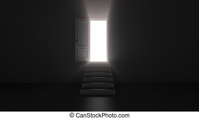 3d render shine of an open door with steps in a dark room