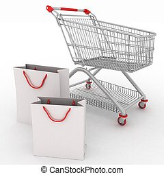 3d render shopping cart and shopping bags