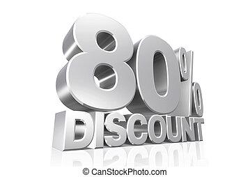3D render silver text 80 percent discount.