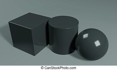 3d render. Simple geometric figures on a gray background.