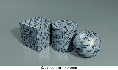 3d render. Simple geometric figures with marble on a gray background.