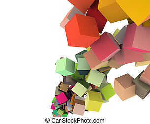 3d render strings of cubes in multiple rainbow colors on white