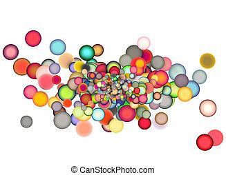 3d render strings of floating balls in multiple colors