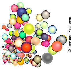 3d render strings of floating glossy sphere in multiple colors