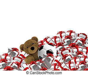 3D Render teddy bear soccer ball christmas