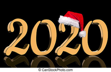 3D Render - The year 2020 in golden numbers with a red Santa Claus cap mirrored in front of a black background