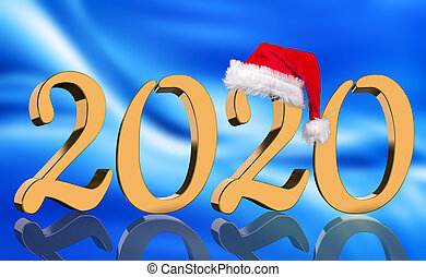 3D Render - The year 2020 in golden numbers with a red Santa Claus cap mirrored in front of a modern abstract blue background