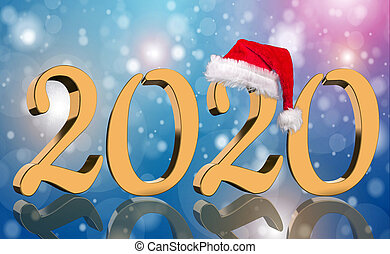 3D Render - The year 2020 in golden numbers with a red Santa Claus cap mirrored in front of modern abstract colorful background