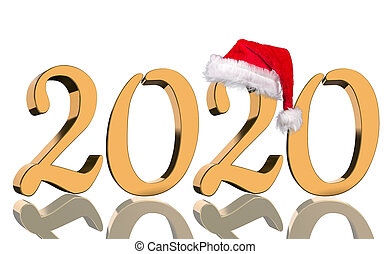 3D Render - The year 2020 in golden numbers with a red Santa Claus cap mirrored in front of white background