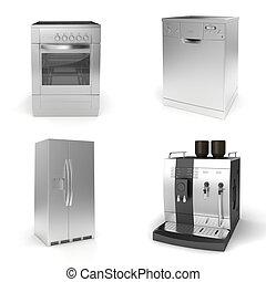 3d, render, van, huishouden appliances, op wit, achtergrond