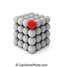 3d, render, van, kubus, met, een, uniek, bal