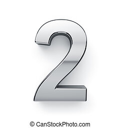 3d, render, van, metalic, cijfer, simbol, -, 2