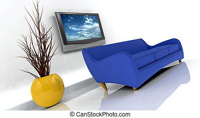 3d, render, van, sofa, en, tv
