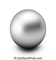 3d, render, van, zilver, bal, op wit