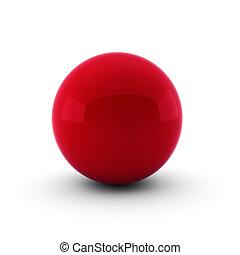 3d, render, von, rote kugel, weiß