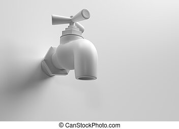 3D Render Water Tap with a water stream isolated on white 3d illustration.