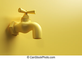 3D Render Water Tap with a water stream isolated on Yellow 3d illustration.