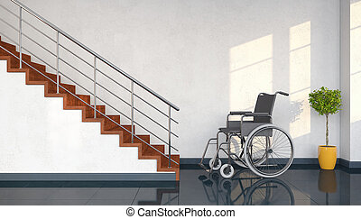 3d render - wheel chair and stairs