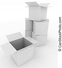 3d render white box opened