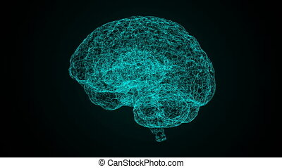 3d render xray style image of human brain rotating. Blue abstract futuristic science and technology motion background