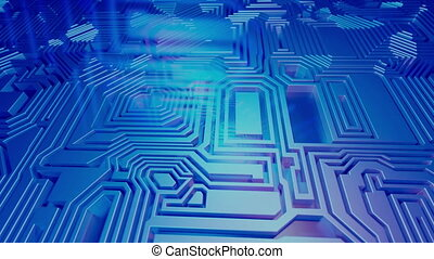 3D Rendered abstract background looping animation. Flying over panel of microchips. Labyrinth, maze. Blue color