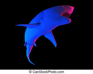 a shark - 3d rendered abstract rendering of a shark