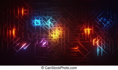 3d rendered animation background texture. Labyrinth maze. Blue, red, yellow lights