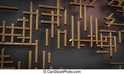 3d rendered animation. Labyrinth. Construction. Golden.