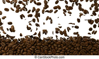 3d rendered animation of roasted coffee beans falling over...