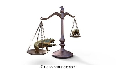 3d rendered bear and bull on the scales - bear and bull on...