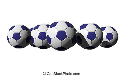 3D rendered blue soccer balls on black background