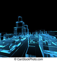 3D rendered blue transparent glowing city