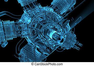 3D rendered blue transparent glowing engine