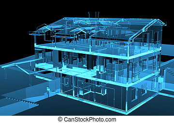 3D rendered blue transparent house