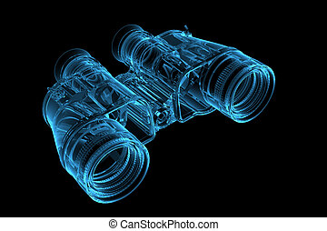 3D rendered blue xray transparent binoculars