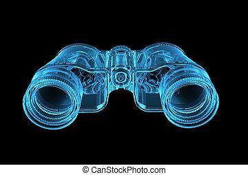 3D rendered blue xray transparent binoculars