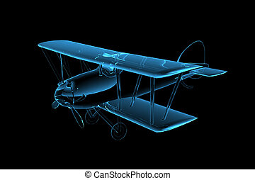3D rendered blue xray transparent biplane
